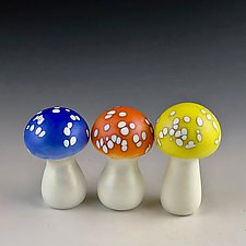 Multi Magic Mushroom Trio by Donald  Carlson (Art Glass Sculpture)