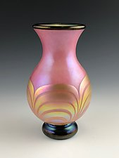 Pink and Gold Lustre Footed Vase by Donald  Carlson (Art Glass Vase)