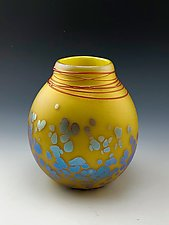 Yellow Bubbles Vase by Donald  Carlson (Art Glass Vase)