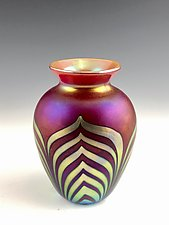 Red and Gold Lustre Vase IV by Donald  Carlson (Art Glass Vase)
