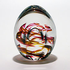 Medium Helix Weight with Facet by Michael Trimpol and Monique LaJeunesse (Art Glass Paperweight)