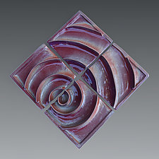 Red Spiral Diamond Tile Composition by Sara Baker (Ceramic Wall Sculpture)