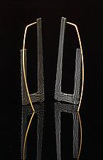 Rectangle Hoop Earrings by Victoria Moore (Gold & Steel Earrings)