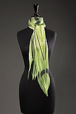 Linear Pathway Pleated Scarf by Laura Hunter (Silk Scarf)