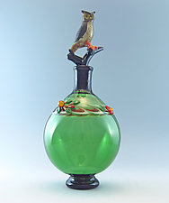 Horned Owl Perfume Bottle by Chris Pantos (Art Glass Perfume Bottle)