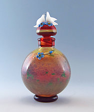 Doves and Forget-Me-Nots by Chris Pantos (Art Glass Perfume Bottle)