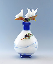 Doves and Olive Branch by Chris Pantos (Art Glass Perfume Bottle)