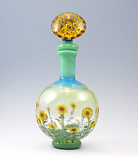 Sunflowers with Butterfly Murrini by Chris Pantos (Art Glass Perfume Bottle)