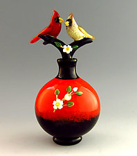 A Pair of Cardinals by Chris Pantos (Glass Perfume Bottle)