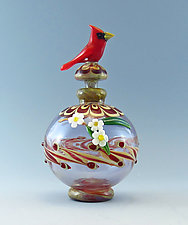 Cardinal on Fenicio Style Bottle by Chris Pantos (Art Glass Perfume Bottle)
