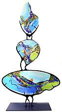 Turquoise Hoodoo by Karen Ehart (Art Glass Sculpture)