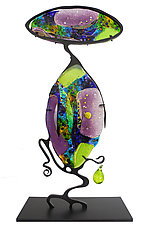 Amethyst and Peridot Cantilever by Karen Ehart (Art Glass Sculpture)