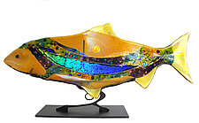 Amber Moon Fish Sculpture by Karen Ehart (Art Glass Sculpture)