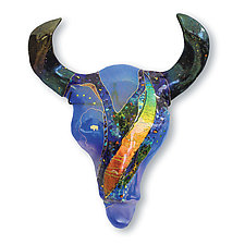 Opal Buffalo Skull by Karen Ehart (Art Glass Wall Sculpture)