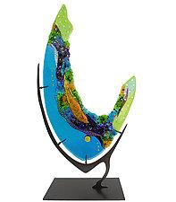 Turquoise Geode by Karen Ehart (Art Glass Sculpture)