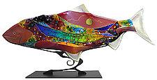 Moon Fish Sculpture by Karen Ehart (Art Glass Sculpture)
