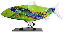 Peridot Moon Fish Sculpture by Karen Ehart (Art Glass Sculpture)