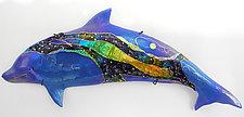 Blue Dolphin Dream by Karen Ehart (Art Glass Wall Sculpture)