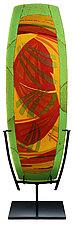 Olive, Orange, Amber Watercolor Panel by Lynn Latimer (Art Glass Sculpture)