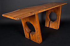 Red Cedar Slab With Steel Hollow Forms by Jeffrey Brown (Metal Console Table)