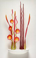 In the Gardens, Tango Red by Warner Whitfield and Beatriz Kelemen (Art Glass Wall Sculpture)