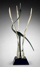 Heron in the Marsh, Mystic Silver by Warner Whitfield and Beatriz Kelemen (Art Glass Sculpture)