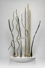 Dancing Heron, Mystic Gray by Warner Whitfield and Beatriz Kelemen (Art Glass Wall Sculpture)