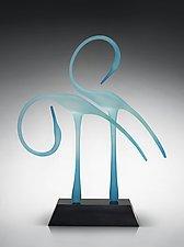 Bolero Dancers in the Marsh,Turquoise by Warner Whitfield and Beatriz Kelemen (Art Glass Sculpture)
