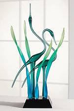 Together II, Emerald by Warner Whitfield and Beatriz Kelemen (Art Glass Sculpture)