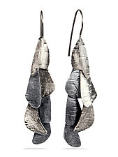 Small Black and White Curly Bark Earrings 6 by Lori Gottlieb (Silver Earrings)