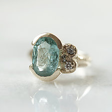Light Blue Tourmaline Gold Ring with Diamonds by Ana Cavalheiro (Gold & Stone Ring)