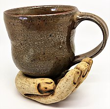 Shino Cup with Hand Saucer by Cathy Broski (Ceramic Drinkware)
