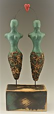 One Love (Woman + Woman) by Cathy Broski (Ceramic Sculpture)