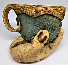 Green Cup with Hand Saucer by Cathy Broski (Ceramic Drinkware)