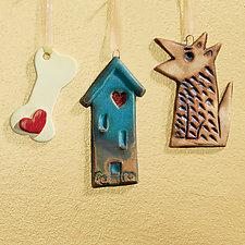 Happy Home Happy Dog Mini Sculpture Set by Cathy Broski (Ceramic Wall Sculpture)