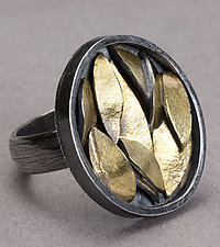 Golden Leaf Ring - Oval by Lori Gottlieb (Gold & Silver Ring)