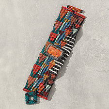 Coral Sean Scully Cuff by Julie Powell (Beaded Bracelet)