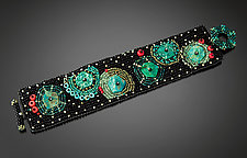 Turquoise Asteroid Cuff by Julie Powell (Beaded Bracelet)