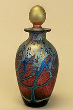 Ruby Wisteria Perfume Bottle by Carl Radke (Art Glass Perfume Bottle)