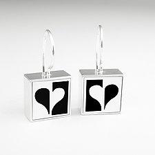 Half Heart Earrings by Victoria Varga (Silver & Resin Earrings)