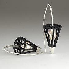 Cone and Pearl Earrings by Victoria Varga (Nylon, Silver & Pearl Earrings)