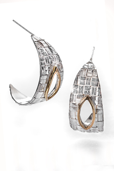 Forged Woven Silver Hoop Earrings