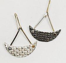 Diamond Crescent Earrings by Linda Bernasconi (Gold, Silver & Stone Earrings)