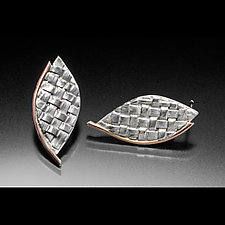 Rose Leaf Earrings by Linda Bernasconi (Gold & Silver Earrings)