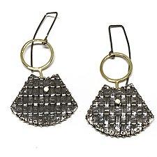 Stitched Fan Earrings by Linda Bernasconi (Gold & Silver Earrings)