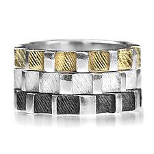 Gear Stacking Rings by Linda Bernasconi (Gold & Silver Ring)