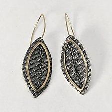 Woven Leaf Chain Earrings by Linda Bernasconi (Gold & Silver Earrings)