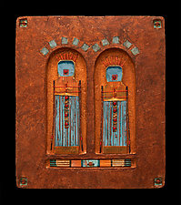 Offerings: Guardian Spirit Protectors Small Blue by Kara Young (Mixed-Media Wall Hanging)