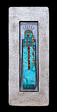 Stone Guardian Blue Med Plus by Kara Young (Mixed-Media Wall Sculpture)