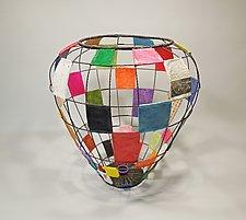 Patchwork Basket by Sally Prangley (Wire & Paper Basket)